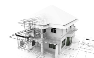 46696301 - 3d render of house on plan