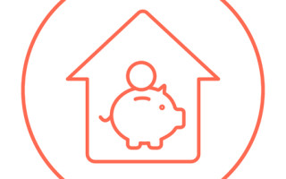53708005 - house savings line icon for web, mobile and infographics. vector red thin line icon in the circle isolated on white background.